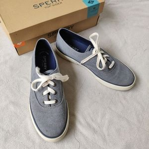 Sperry Blue Chambray Gray Sneakers Low Top